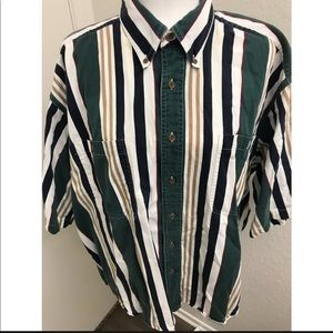VTG striped button up dad shirt